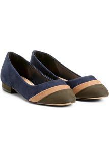 Sapatilha Couro Shoestock Mix Color Feminina - Feminino-Verde Escuro