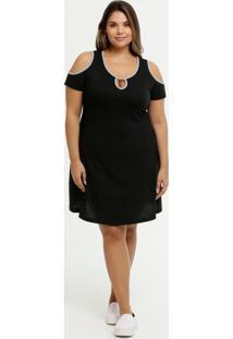 Vestido Feminino Open Shoulder Canelado Viés Plus Size