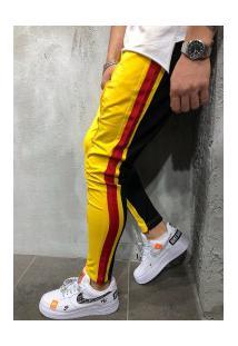 Calça Masculina Slim Striped Duas Cores - Amarelo E Preto