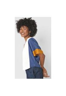 Blusa Cantão Color Block Off-White/Azul