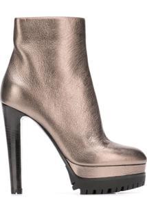 Sergio Rossi Ankle Boot De Couro - Dourado