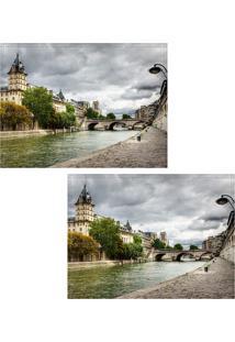 Jogo Americano Colours Creative Photo Decor - Vista Do Rio Sena Em Paris Na França - 2 Peças