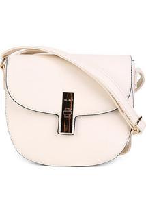 Bolsa Via Uno Eco Napa Flap Feminina - Feminino-Off White