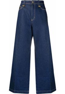 Versace Jeans Couture Wide-Leg Denim Jeans - Azul