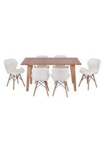 Conjunto Mesa De Jantar Em Madeira 150X80 Vértice + 6 Cadeiras Slim - Branco