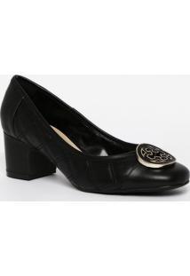 Sapato Tradicional Em Couro Com Pespontos- Preto- Sacapodarte