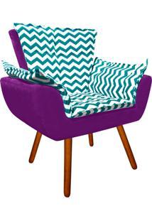 Poltrona Decorativa Opala Suede Composê Estampado Zig Zag Verde Tiffany D78 E Suede Roxo - D'Rossi