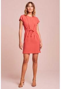 Vestido Rubinella Amarração Cintura - Feminino-Coral