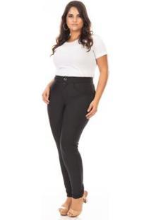 Calça Legging Montaria Cintura Alta Plus Size Confidencial Extra Feminina - Feminino-Preto