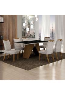 Conjunto De Mesa De Jantar Ii Com 6 Cadeiras Verona Suede Preto E Cinza