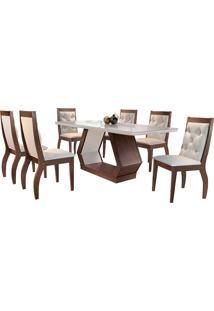 Conjunto De Mesa Para Sala De Jantar Ibis Tampo De Vidro Com 6 Cadeiras Agata-Rufato - Veludo Creme / Off White / Café