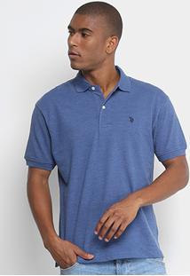 Camisa Polo U.S. Polo Assn Lisa Bordado Masculina - Masculino-Azul
