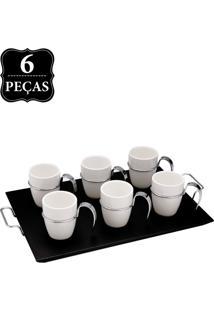 Jogo P/ Café Wolff Porcelana Cabo 6 Pçs Branco/Preto