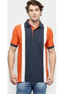 Camisa Polo Aleatory Listrada Fio Tinto Masculina - Masculino-Laranja+Marinho