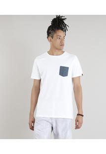Camiseta Masculina Com Bolso Estampado Manga Curta Gola Careca Off White