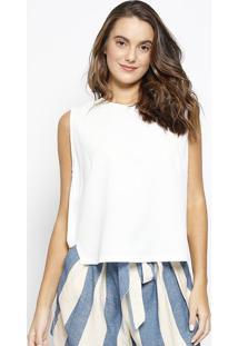 Blusa Cropped Texturizada Com Recorte- Branca- Mariamorena Rosa