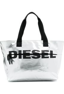 Diesel Bolsa Tote Com Estampa De Logo - Prateado