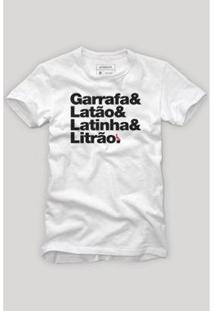 Camiseta Reserva Carnaval Garrafa & Latinha Masculina - Masculino-Branco