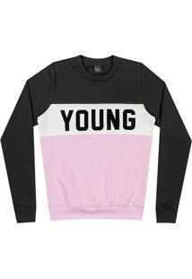 """Blusã£O """"Young""""- Rosa Claro & Cinza Escuro- Teen-Young"""