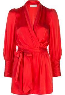 Zimmermann Vestido Envelope De Seda - Vermelho