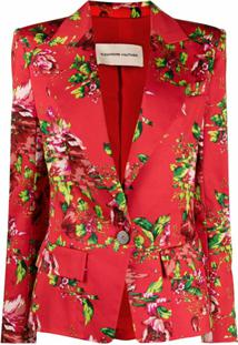 Alexandre Vauthier Blazer Com Abotoamento Simples E Estampa Floral - Vermelho
