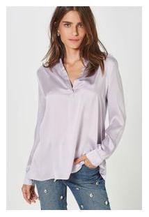 Camisa Seda Polo Fabiola Cetim Lilas Exotique
