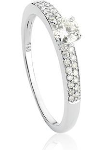 Anel De Ouro Branco 18K Feminino Noivado Ou Casamento Com Diamantes.