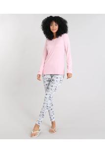 Pijama Feminino Estampado Floral Manga Longa Rosa