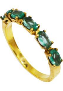 Anel Aliança Cristal Swarovski Esmeralda Banhado A Ouro 18K