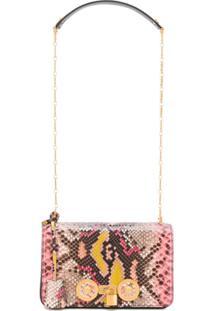 Versace Bolsa Tiracolo Com Efeito Pele De Píton - Rosa