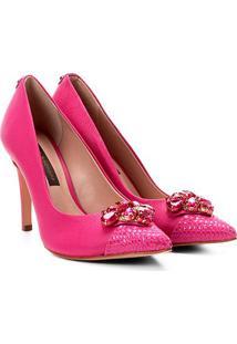 Scarpin Couro Jorge Bischoff Biqueira Croco - Feminino-Pink