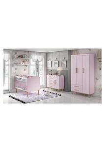 Dormitorio Ludmila Guarda Roupa 3 Portas Cômoda Fraldário Berço Rosa/Bétula Carolina Baby