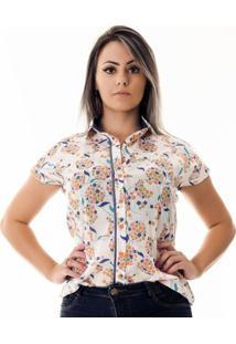 Camisa Pimenta Rosada Adriennefloral - Feminino-Branco+Azul