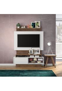 Painel Arapuá Para Tv 60 Polegadas Branco Brilho Off-White E Nobre 141 Cm