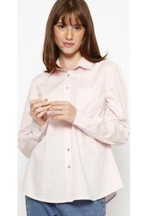 Camisa Com Bolso & Bordado- Rosa Clarohering