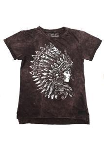 Camiseta Longline Stoned Estonada Headdress Vinho