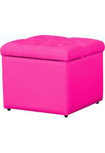 Puff Baú Porta Objetos Capitonê 48 Cm Corino 388 Lyam Decor Pink
