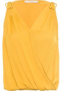 Blusa Feminina Jacquard Liso - Amarelo