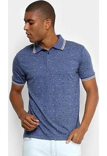 Camisa Polo Broken Rules Mini Print Geométrico Masculina - Masculino-Azul