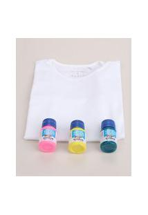 "Kit Infantil Para Tie Dye Faça Você Mesmo"" De Blusa Manga Curta Branca + Tintas Multicor"""