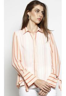 Camisa Listrada Com Fendas- Laranja Claro & Laranja-Nem