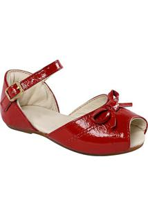Sapatilha Peep Toe Em Couro Com Laço- Vermelhaprints Kids