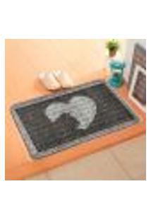 Capacho Carpet Love Cat Cinza Único