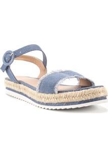 Sandália Espadrille Flatform Detalhe Em Corda Jeans Azul