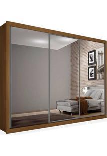 Armário 03 Portas De Correr 2,16 Espelho Total, Imbuia, Premium Plus Ii