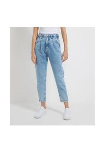 Calça Baggy Jeans Com Pregas E Bolsos Diferenciados