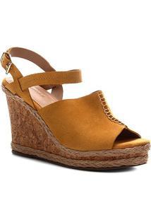 Sandália Anabela Shoestock Couro Cortiça Feminina - Feminino-Amarelo