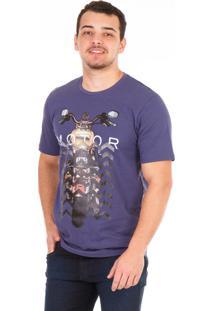Camiseta Carlan Malhas Estampada Moto Roxo