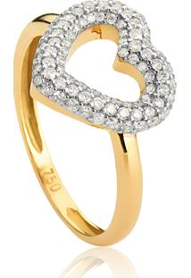 Anel De Ouro 18K Coração Vazado Com Pavê De Diamantes-Coleção My Heart