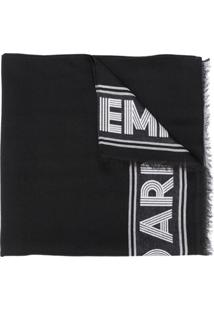 Emporio Armani Echarpe Com Logo Bordado - Preto